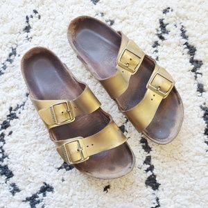 Birkenstock Arizona Metallic Gold Sandals 41 10